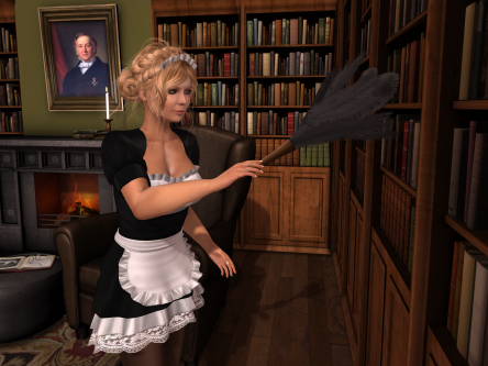 dusting in library