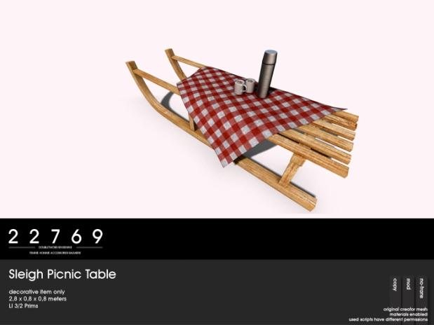 LC Dec 22769 Sleigh Picnic Table
