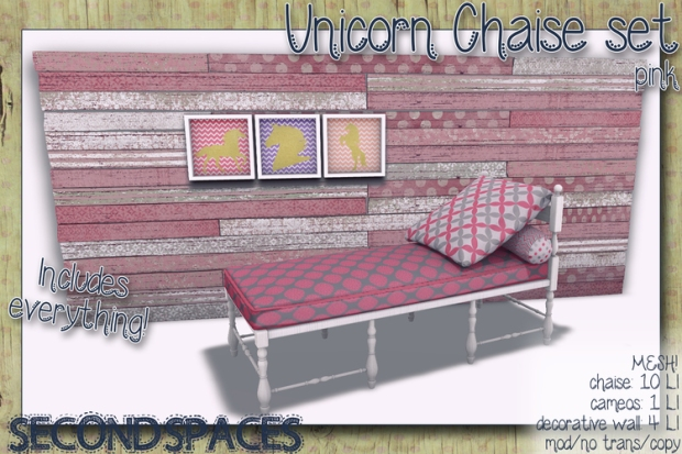 second spaces - unicorn chaise pink