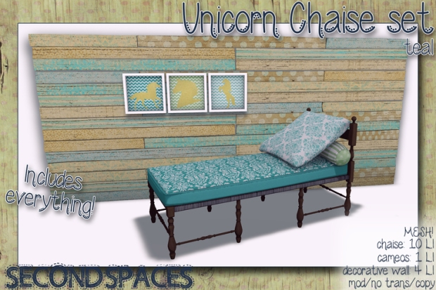 second spaces - unicorn chaise teal