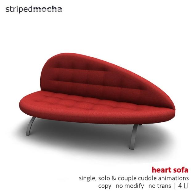 striped mocha - heart sofa