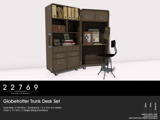 22769 -globetrotter trunk desk set - The Challenge