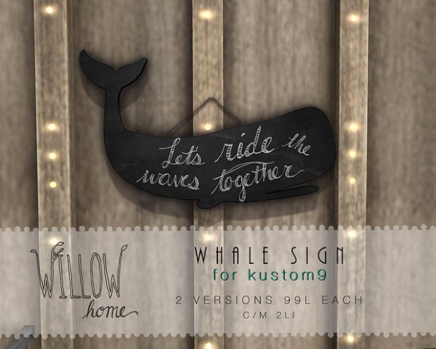 Willow Home - whale sign - Kustom9