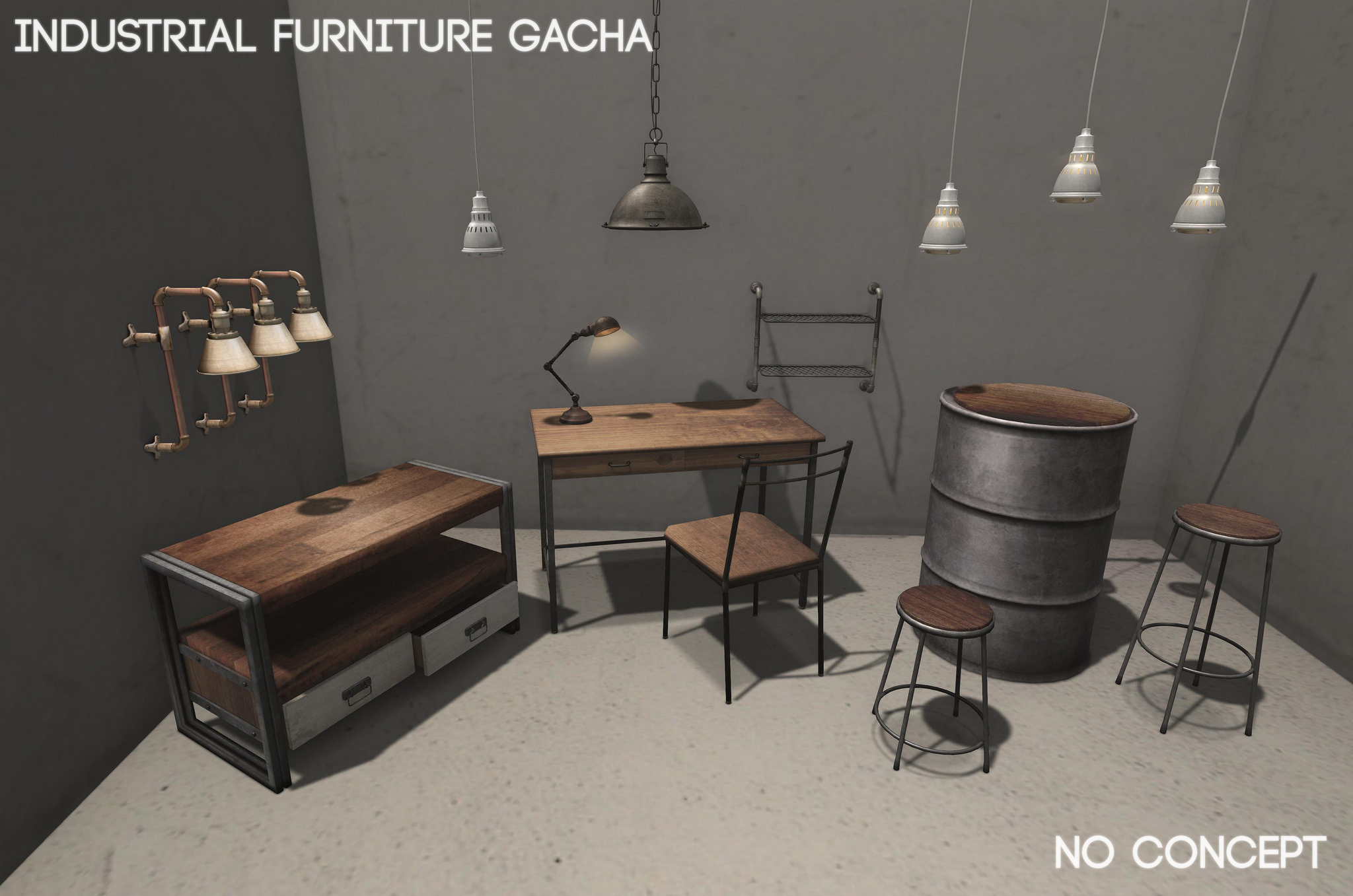 [NO CONCEPT] U2013 INDUSTRIAL FURNITURE GACHA PREVIEW