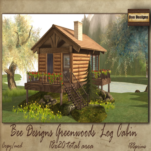 Bee Designs Greenwoods log cabin