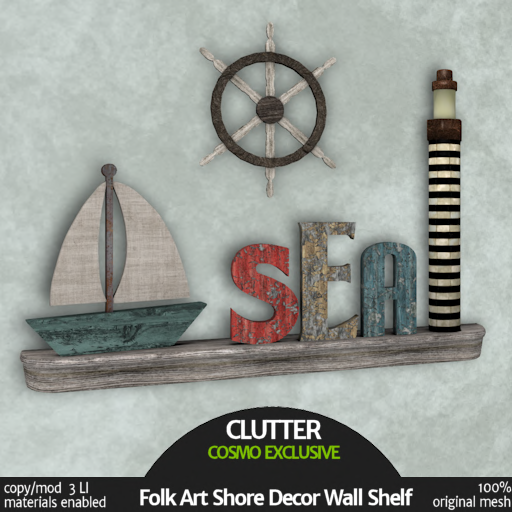 Clutter Home - Folk Art Shore Decor Wall Shelf Exclusive - AD
