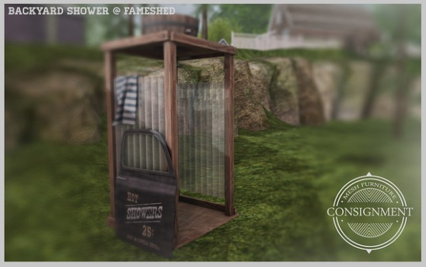Consignment - backyard shower - fameshed