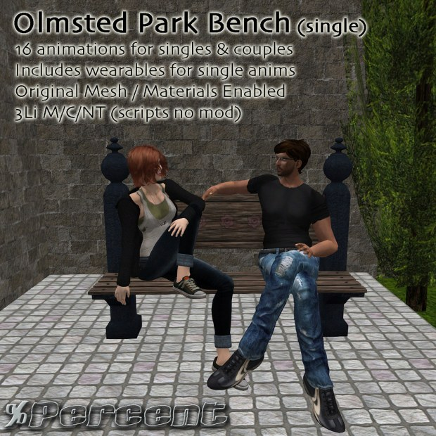 percent - Olmsted park bench - HomeShow