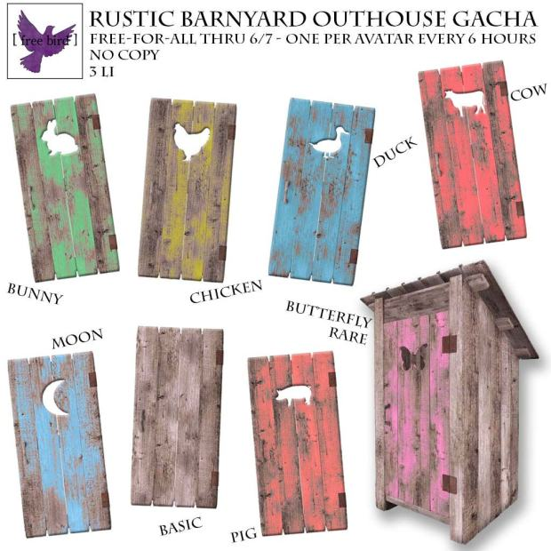 free bird - rustic barnyard outhouse