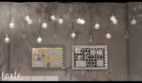 TARTE. - ORGANIZATION BOARDS AND HANGING ROPE LIGHTS.